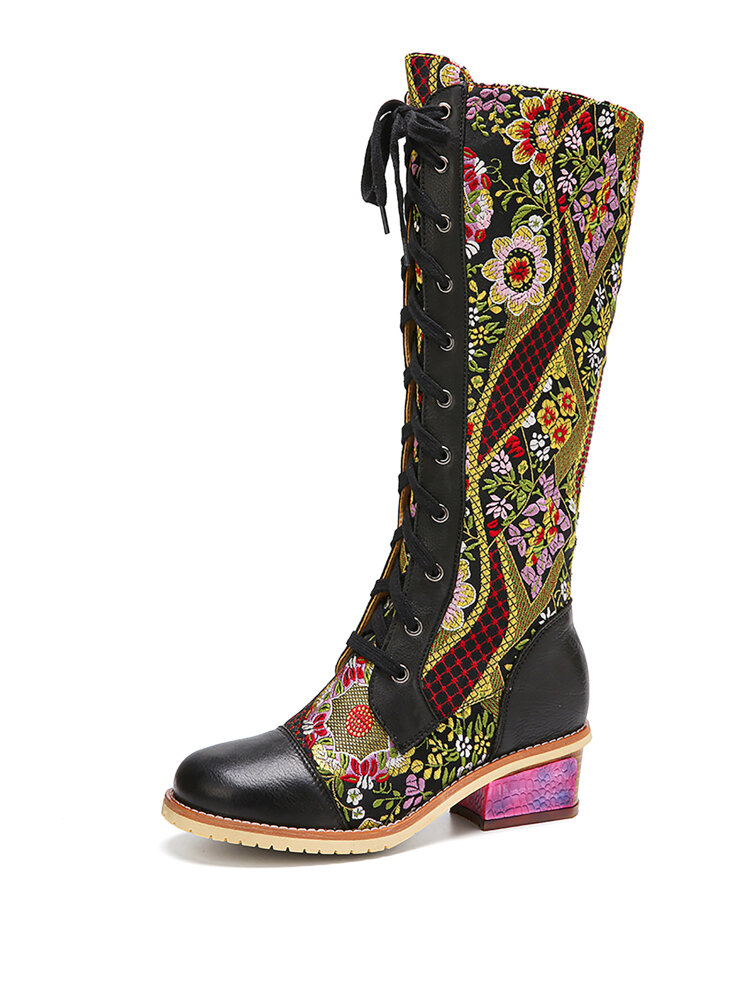 SOCOFY Цветочная вышивка в стиле ретро Натуральная Кожа Комфортный блочный каблук До середины икры Ботинки