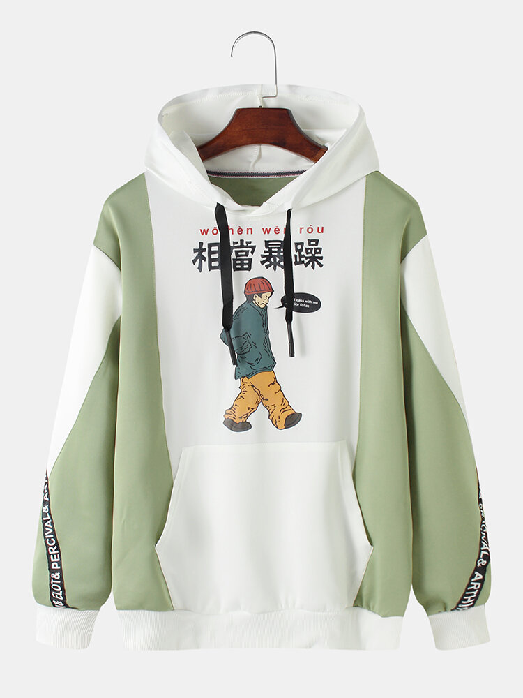 Mens Cotton Patchwork Chinese Cartoon Print Casual Pullover Drawstring Hoodie