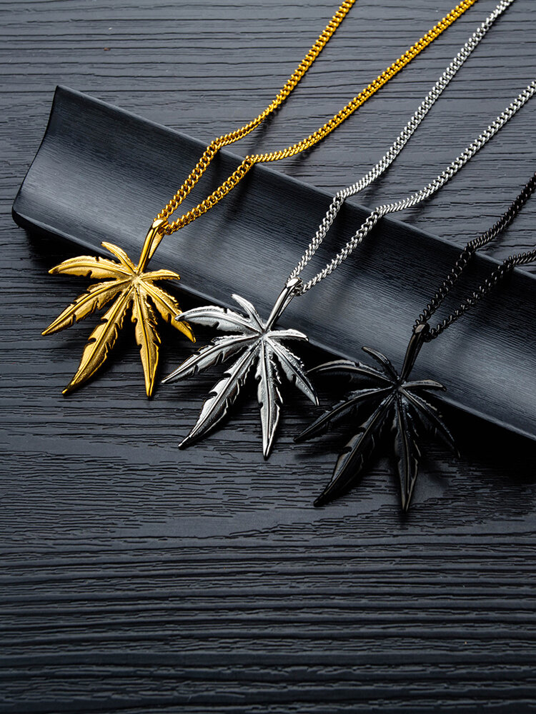 Trendy Hemp Leaf Pendant Necklace Geometric Maple Leaf Men's Necklace