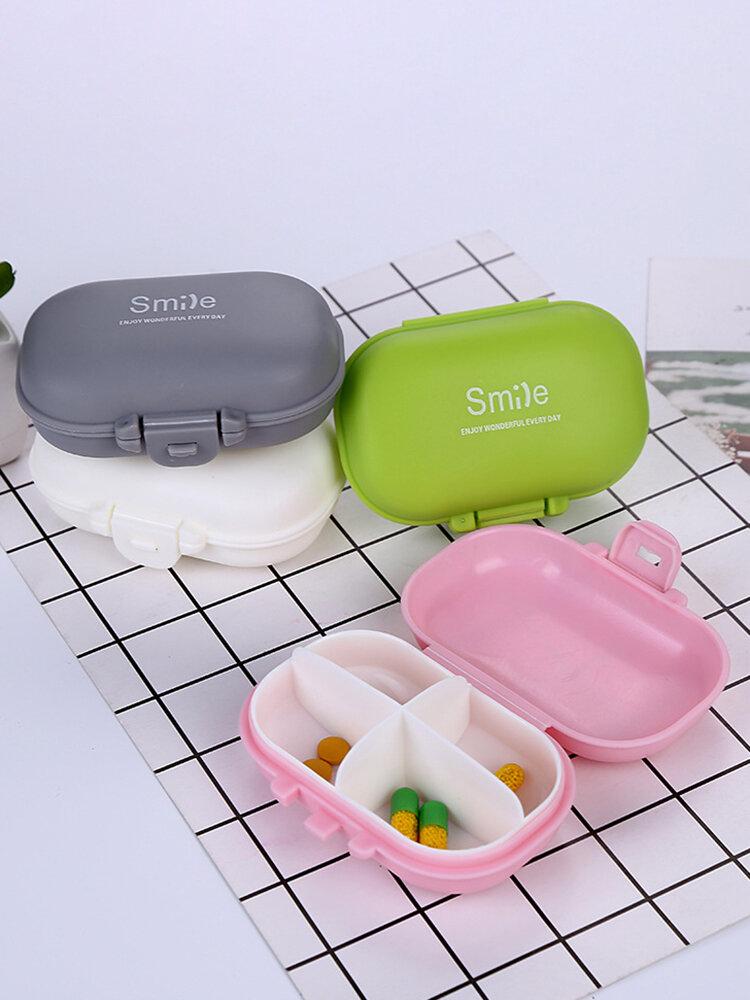 Portable Four-grid Pill Box Plastic Storage Box