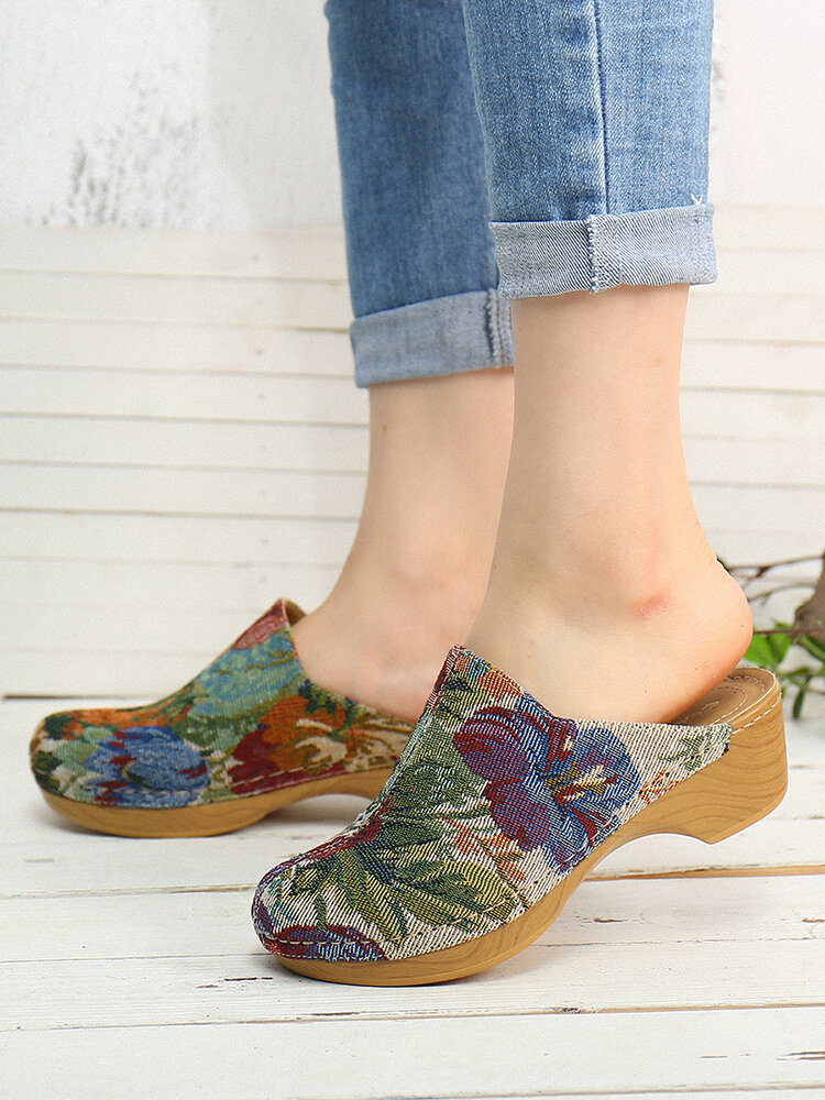 SOCOFY Flower Cloth Pattern Stitching Slip On Mules Clogs Bequemer Low Heel Sandalen