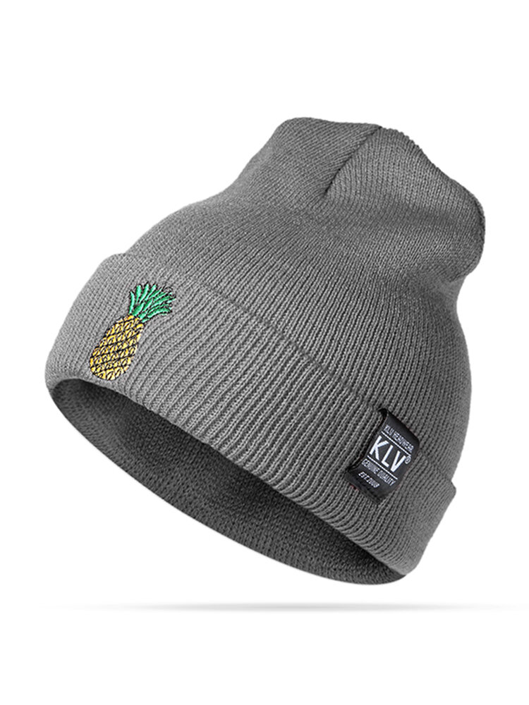 Women Winter Pineapple Embroidered Knitted Hats Casual Warm Skullies Beanies Caps
