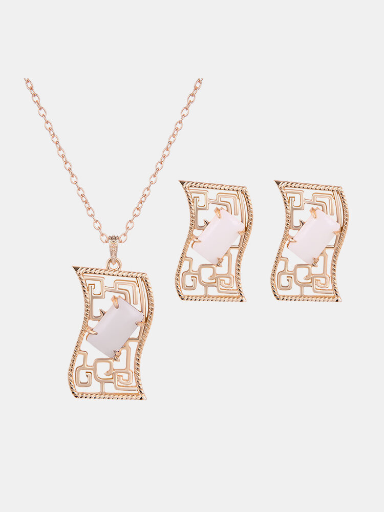 Elegant Jewelry Set Rectangle Resin Necklace Earrings Set