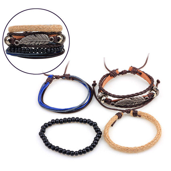 Leaf Men Bracelet Pure Handmade Calfskin Hemp Rope Multi-root Combination Bracelet