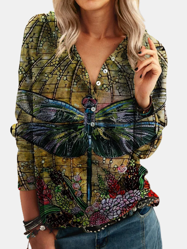 Gragonfly Printed Long Sleeve Button Hoodie For Women
