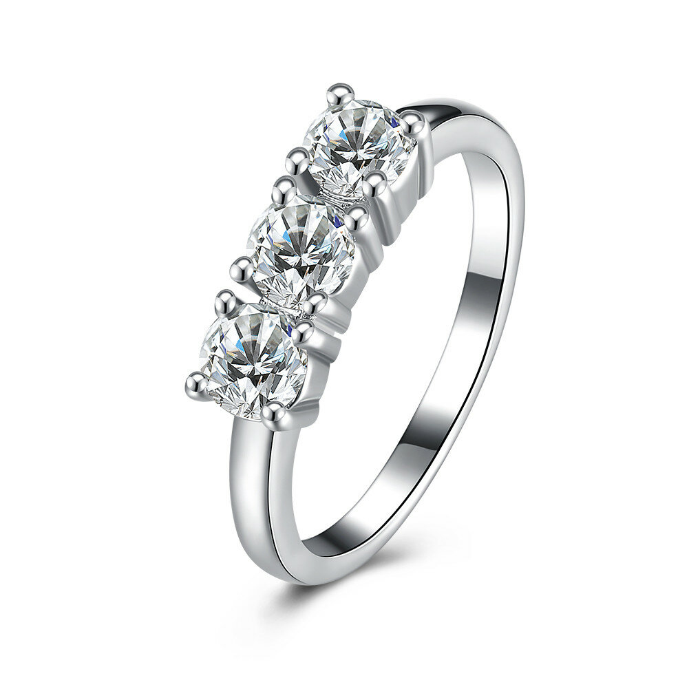 Sweet Wedding Ring Three Zircon Platinum Ring for Women Gift