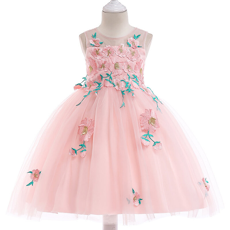 Flower_Applique_Girls_Kids_Pageant_Party_Wedding_Princess_Dress_For_4Y13Y