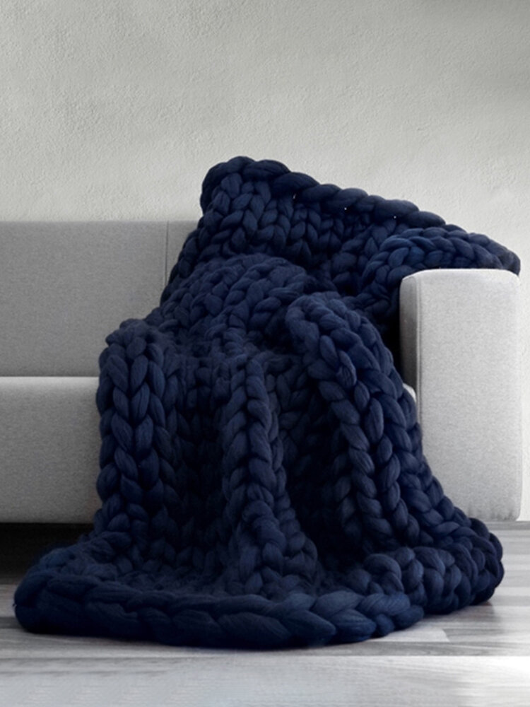 100*80cm Soft Warm Hand Chunky Knit Blanket Thick Yarn Wool Bulky Bed Spread Throw