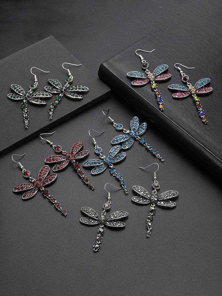 Vintage Colored Dragonfly Women Earrings Diamond Mount Pendant Earrings