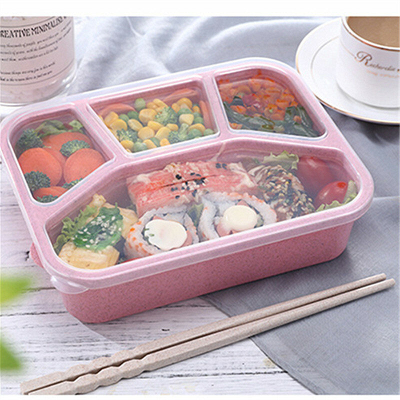 76b58ad943b1 Microwavable Healthy Bento Box Lunch Box With Compartments BPA Free Wheat  Straw Food Storage