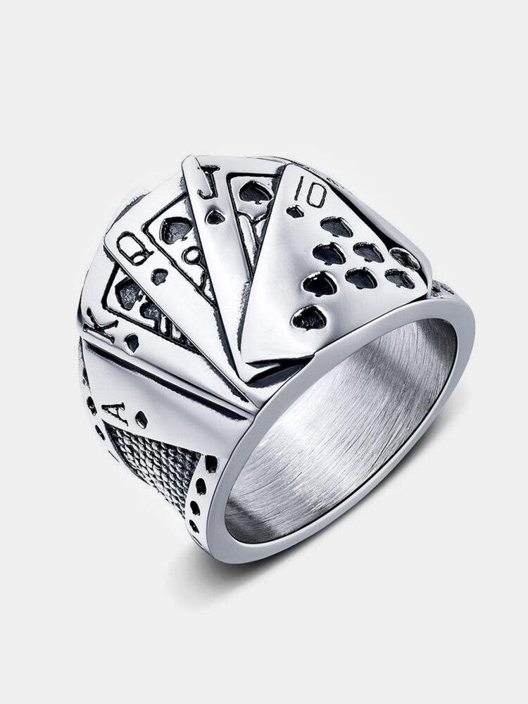 トランプ合金チタン鋼ヒップホップトランプマジシャンポーカーリング
