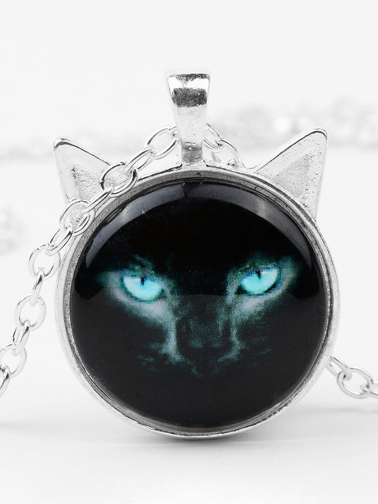 Vintage Printed Black Cat Women Necklace Cat Ear Glass Pendant Sweater Chain