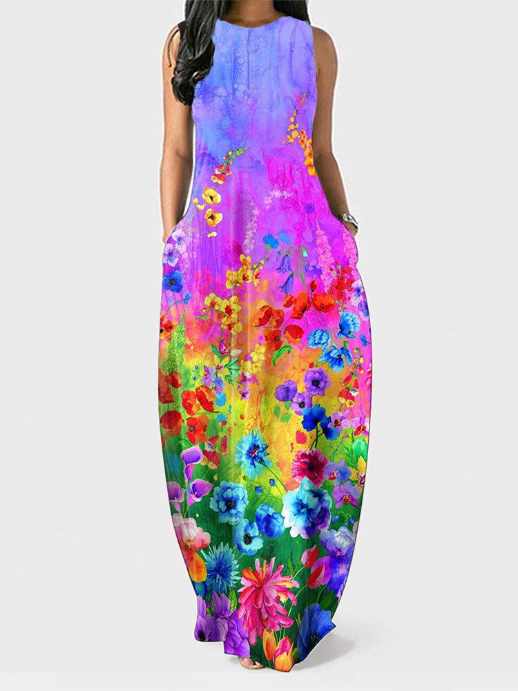 Bohemian Tie-dye Flower Print Plus Size Tank Dress with Pocket