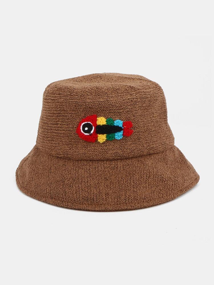 Women & Men Woolen Embroidery Fish Bone Cute Casual Bucket Hat