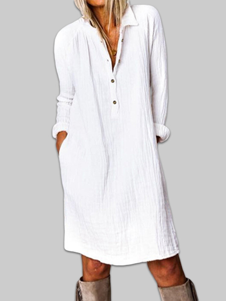 Cotton Solid Color Button V-neck Plus Size Casual Dress
