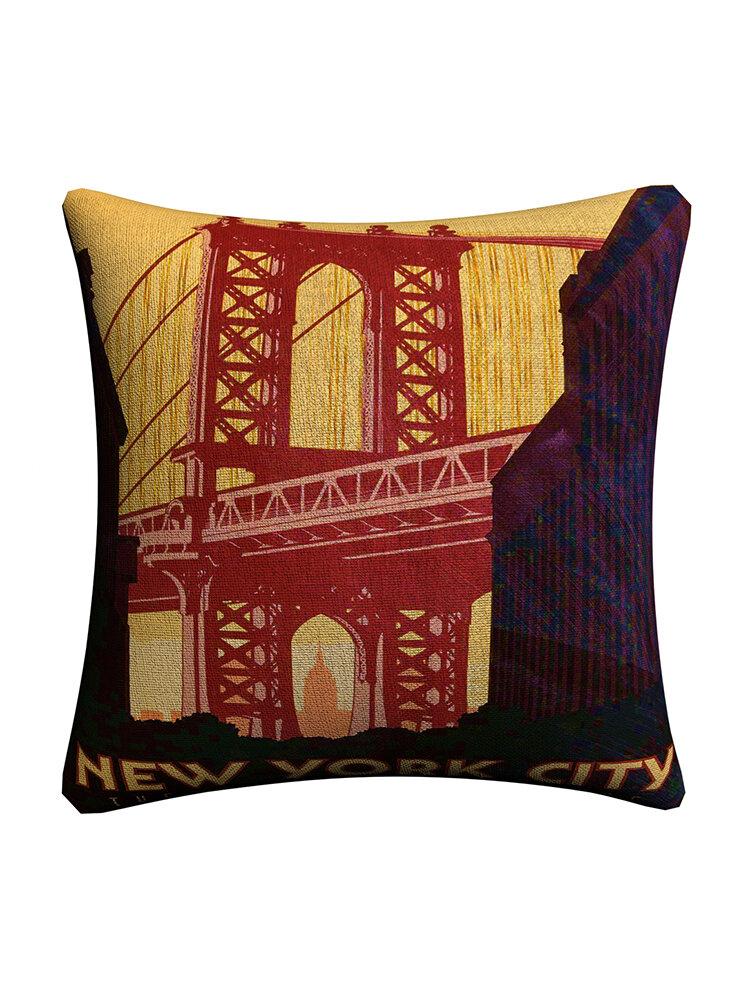 Vintage City Landmark Pattern Linen Cushion Cover Home Sofa Office Waist Throw Pillowcases Art Dec