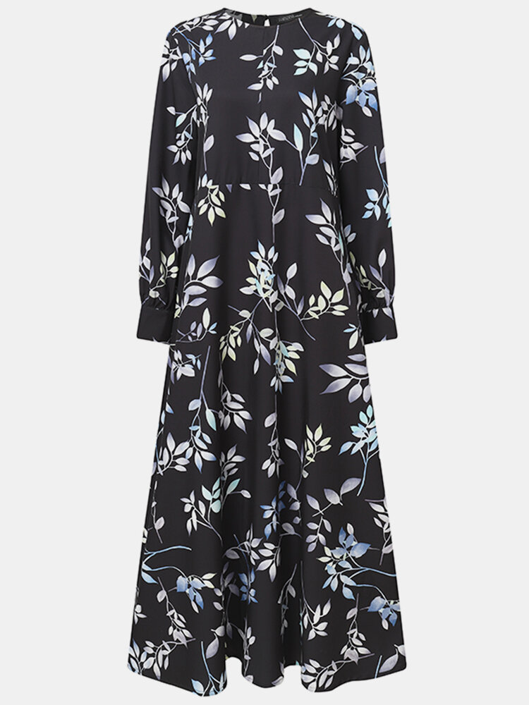 Leaves Print O-neck Long Sleeve Casual Muslim Dress for Women