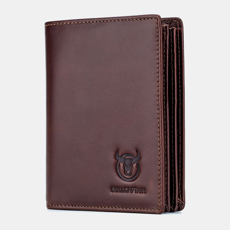 Men Anti theft Genuine Leather 15 Card Slots Short Wallet Purse