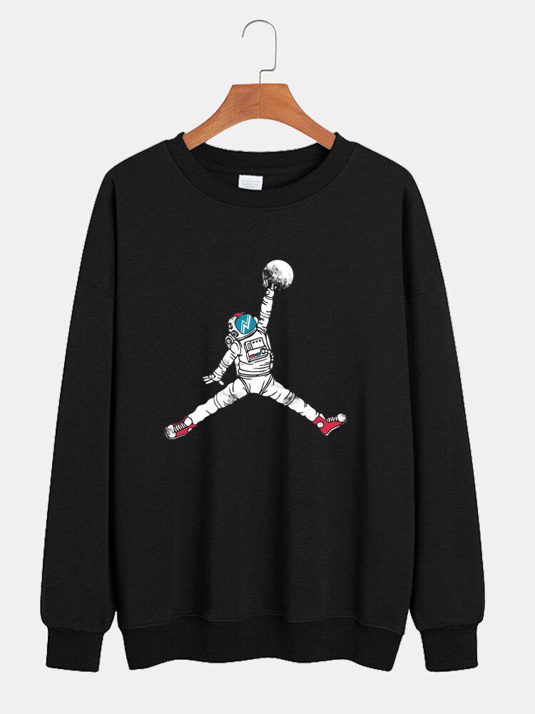 Mens Cartoon Astronaut Chest Print Lounge Crew Neck Sweatshirts