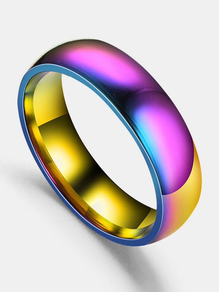 Couple de mode bagues Colorful surface lisse en acier inoxydable bijoux simples pour femmes hommes