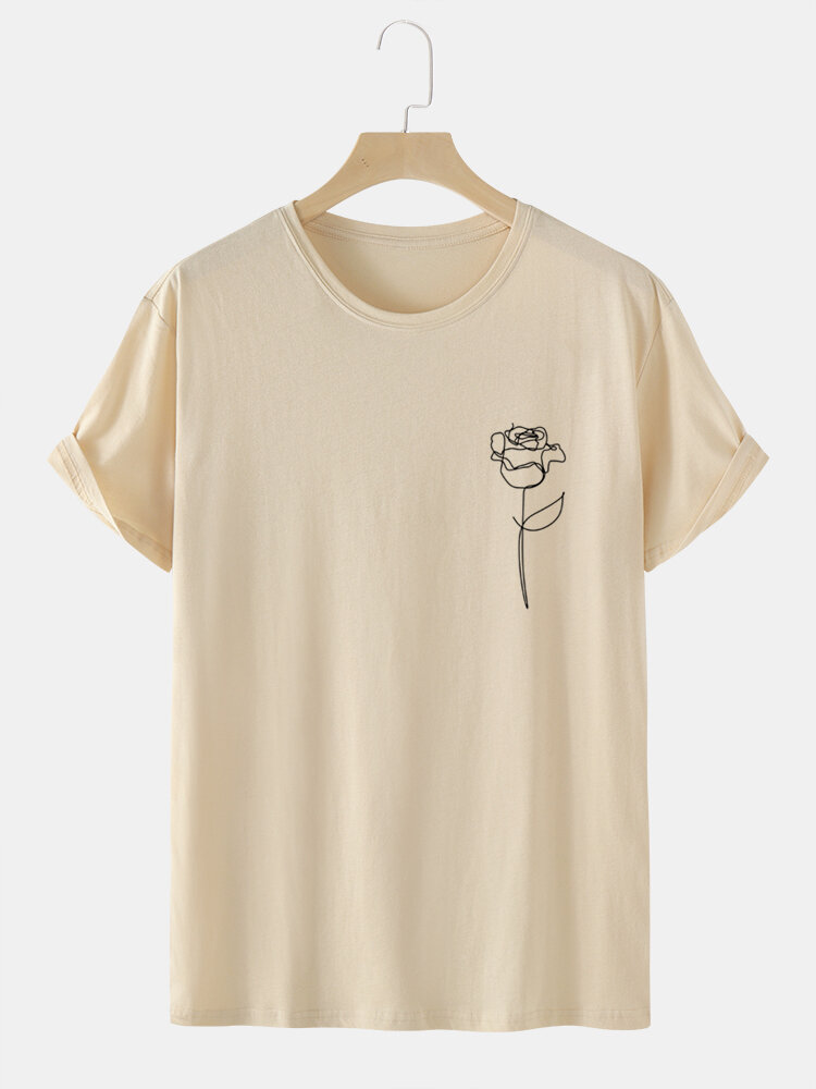Mens Line Drawing Rose Graphic 100% Cotton Short Sleeve T-Shirts