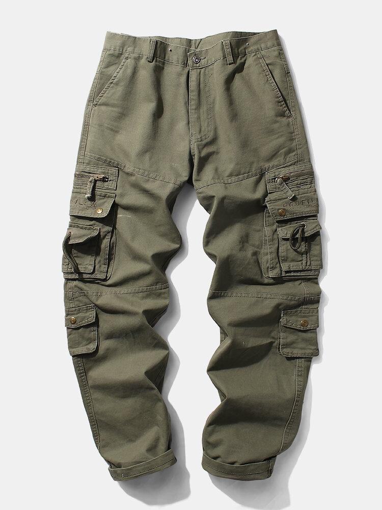 Pantalon cargo droit uni 100% coton avec coutures utilitairess - Newchic - Modalova