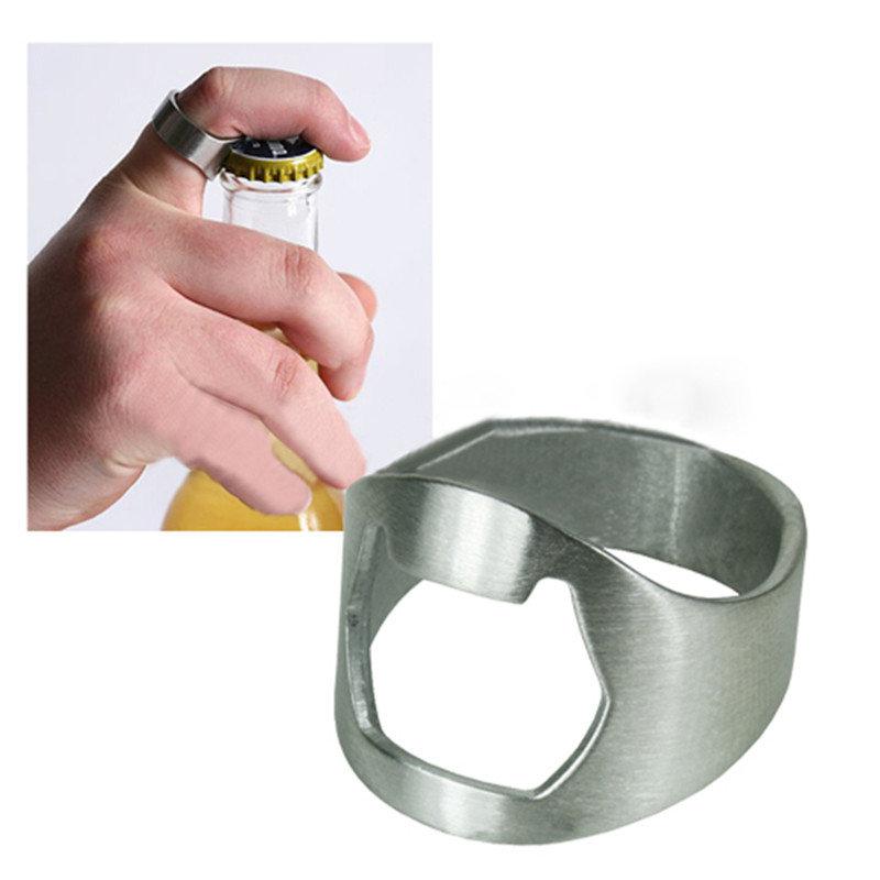Silver Beer Bottle Opener Stainless Steel Finger Ring Bar Accessories OD 22mm