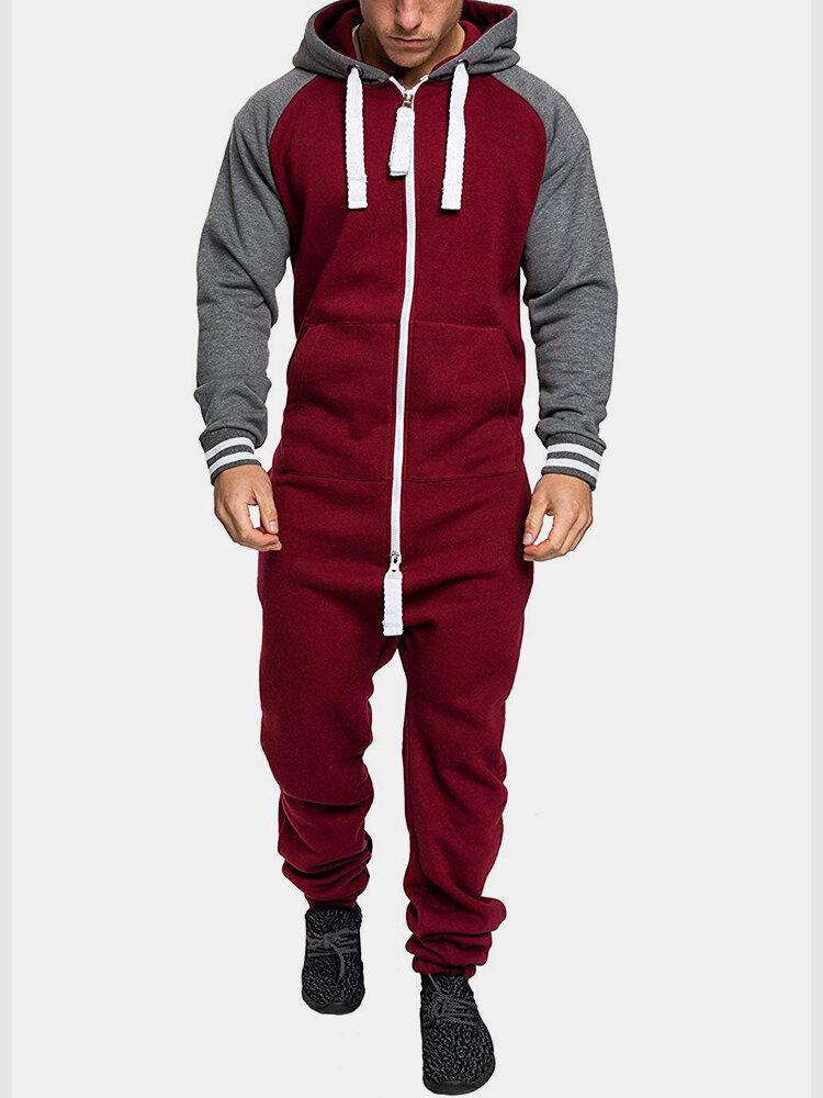 Mens Colorblock Jumpsuits Double Open Zip Up Drawstring Hooded Sport Jogger Sweatsuit