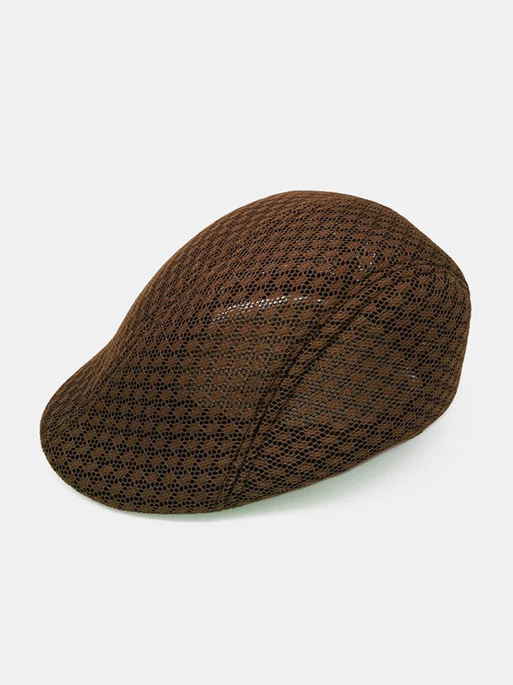 Men Summer Outdoor Casual Beret Caps Adjustable Breathable Mesh Newspaper Cap