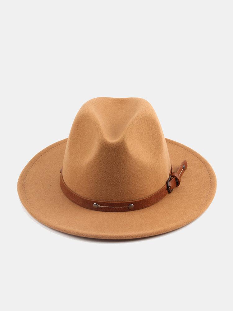 Unisex Woolen Felt Solid Color Rivet Buckle Strap Decoration Thicken Flat Brim Top Hat Fedora Hat