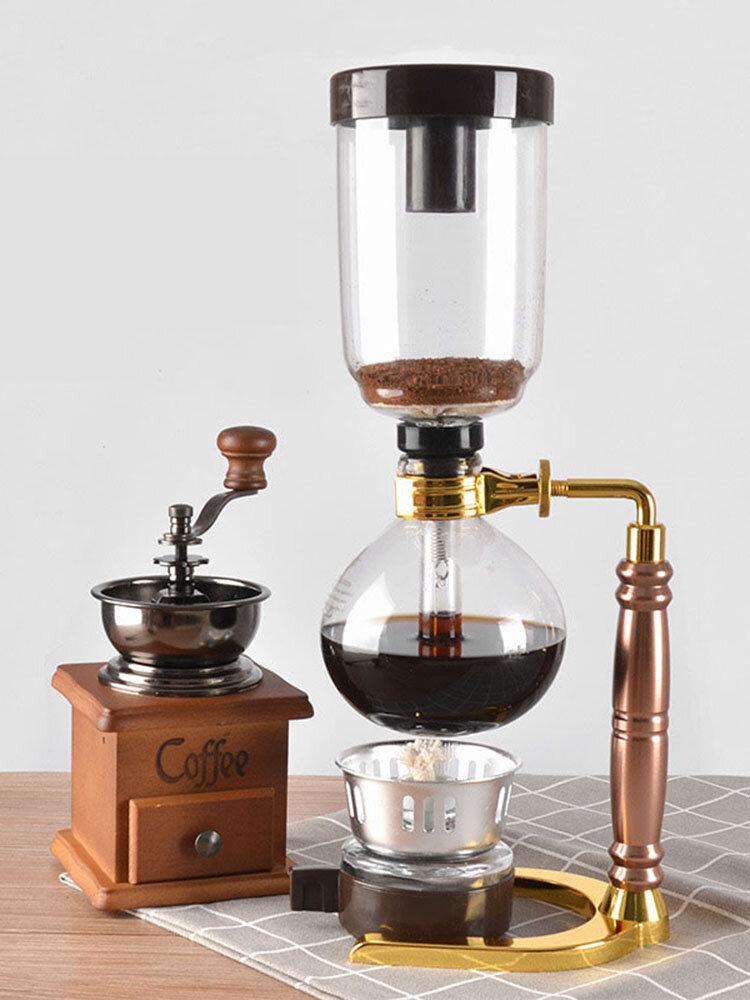 Sifón Cafetera Olla Acero inoxidable Durable Vidrio resistente al calor Filtro de máquina de café para el hogar