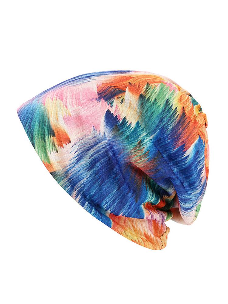 Double Hat Scarf Color Printing Stripe Fashion Bonnet Cap Multi-function Neck Scarves For Women