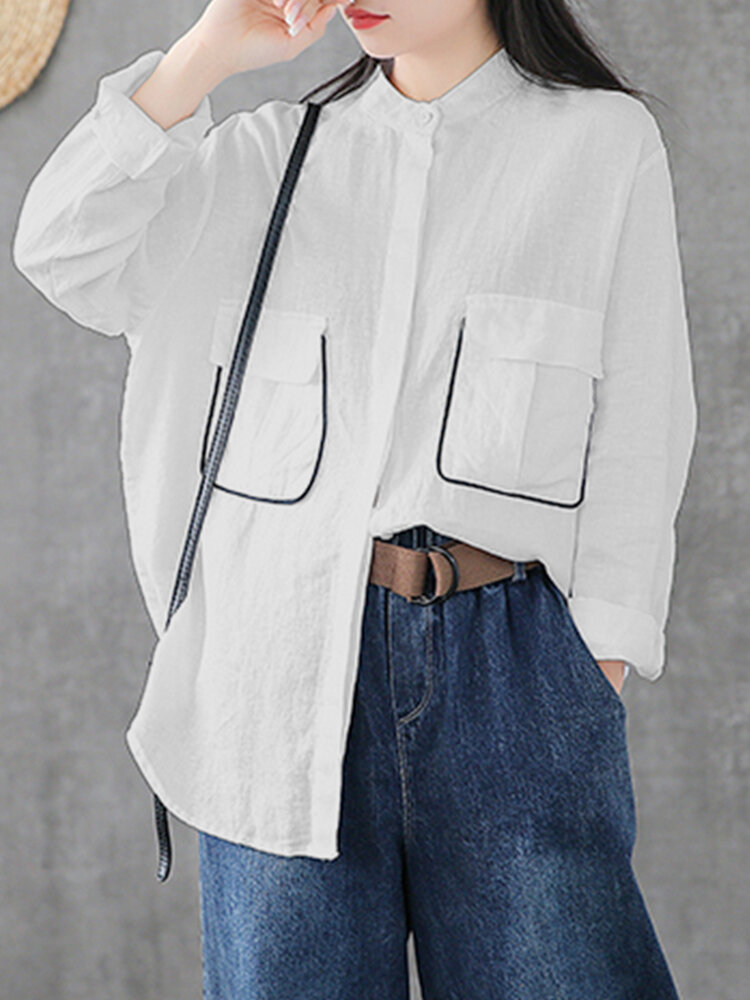 Casual Stand Collar Long Sleeve Plus Size Shirt with Pockets
