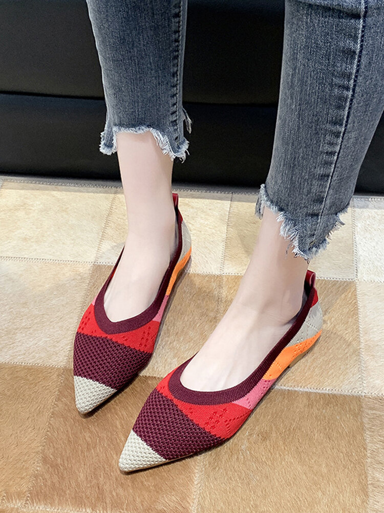 Women Pointed Toe Soft Loafers Comfy Slip On Shallow Casual Knitted Flats