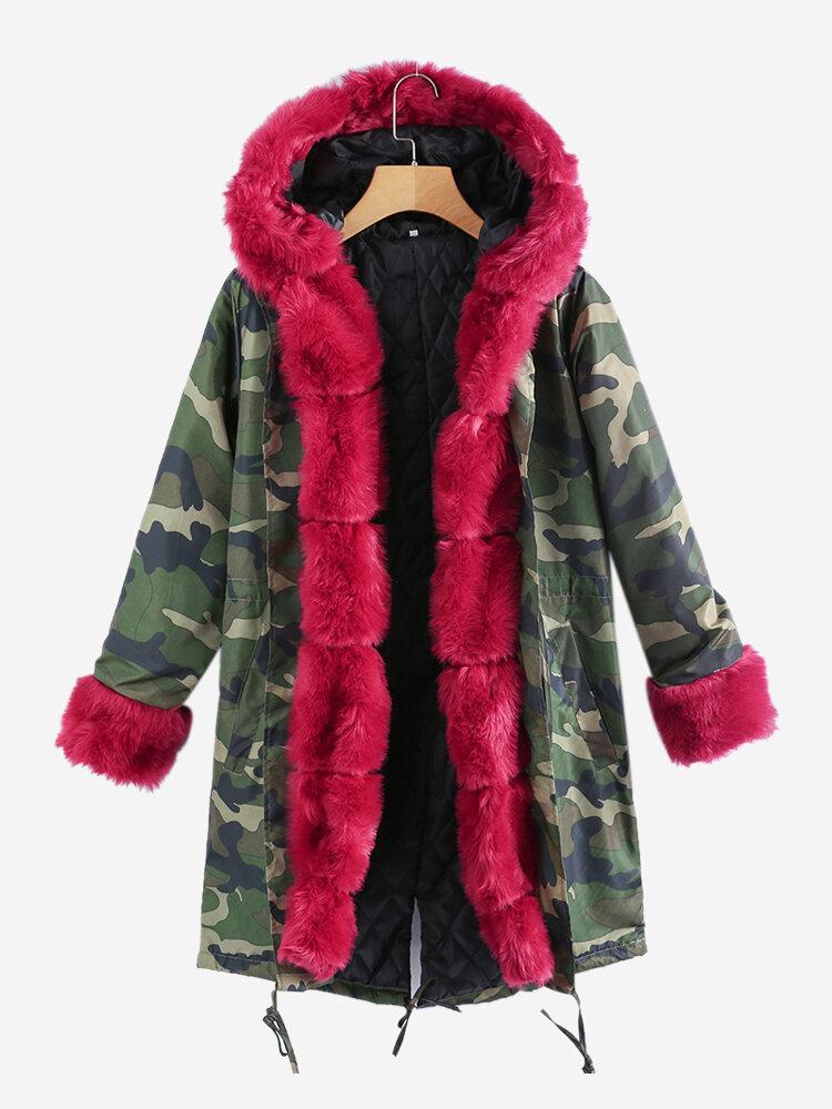 Camouflage Faux Fur Long Autumn Winter Coats