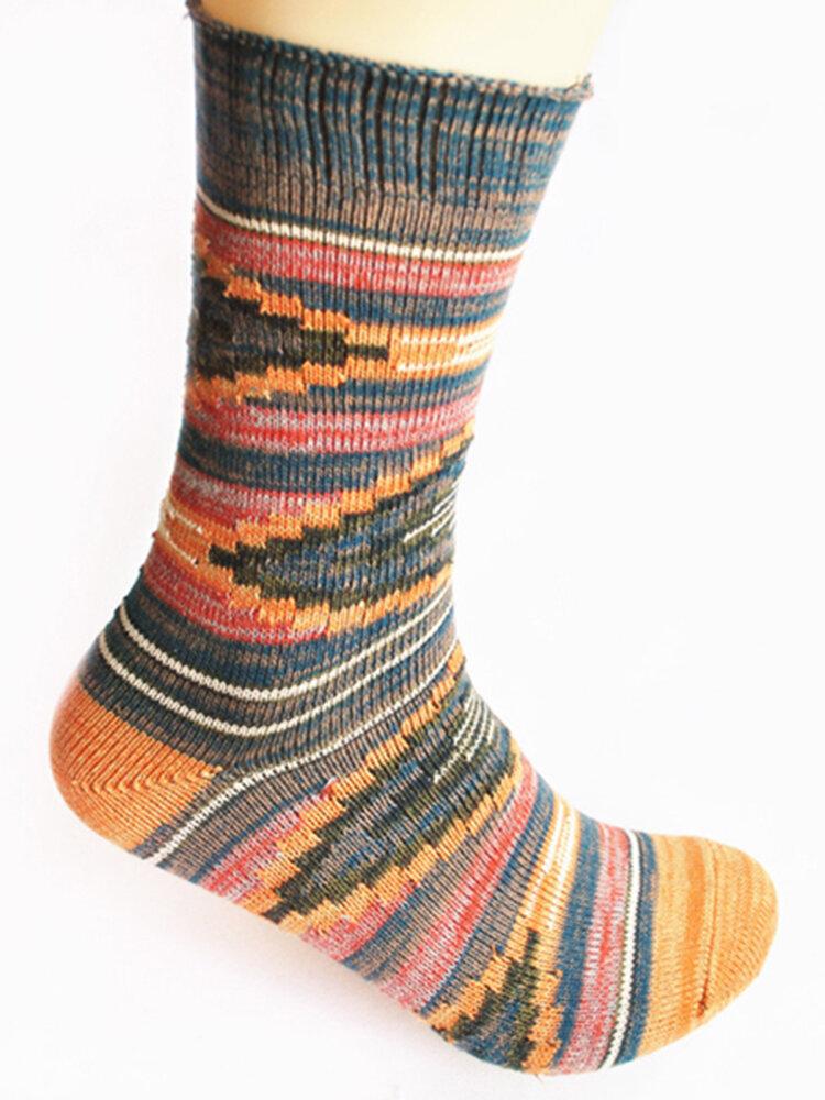 Women Vintage Comfortable Breathable Cotton Stripe Middle Tube Socks Fashion Knitted Socks