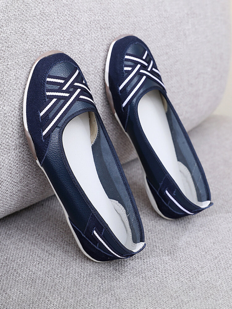 Women Soft Comfy Striped Pattern Slip-On Flat Round Toe Driving Shoes
