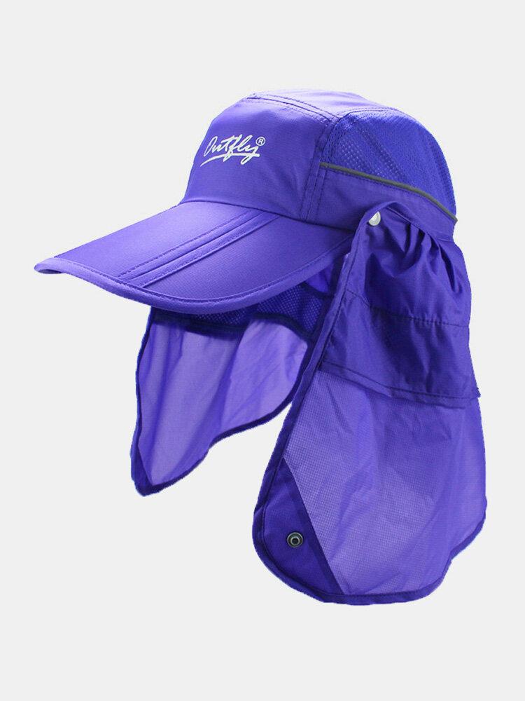 Unisex Wide Brim Summer Sunshade Face Neck UV Protection Breathable Detachable Visors Baseball Hat
