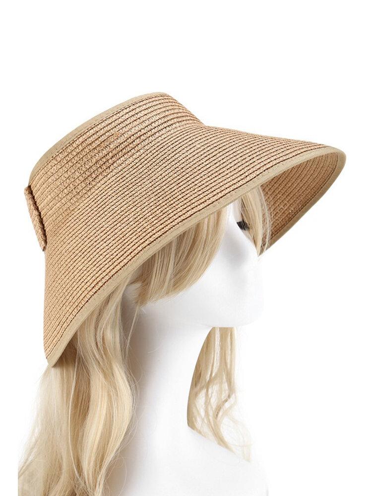 Women Summer Foldable Sunscreen Empty-top Bow Hat Outdoor Casual Beach Sun Straw Hat