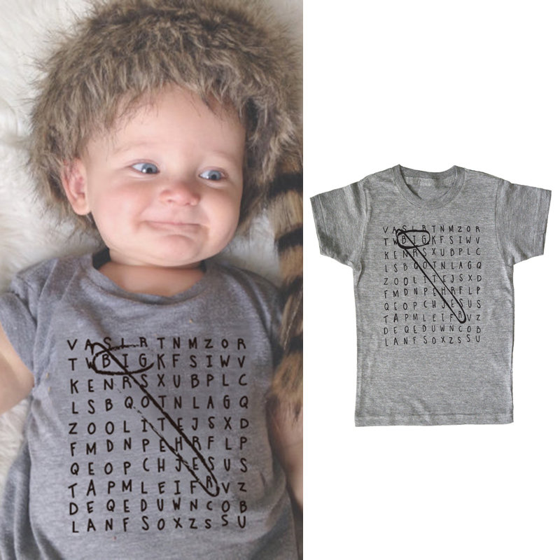 Letter Printed Toddler Boys Short Sleeve Casual Summer Cotton T-Shirt For 1Y-5Y