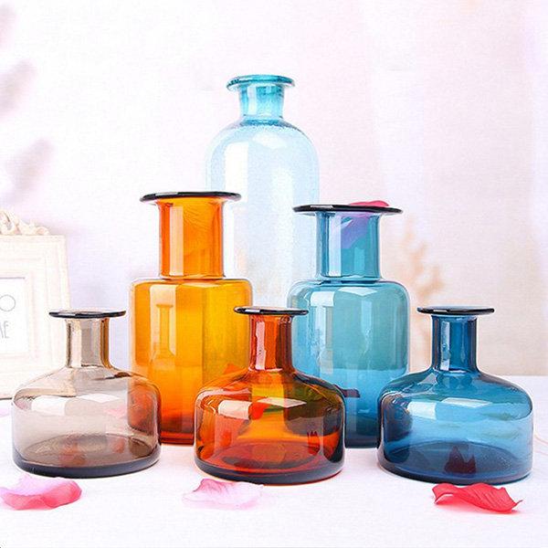 Vidrio de soda-lima Glass Vintage Florero Botella de vidrio de cristal Jardinería Relleno de flores