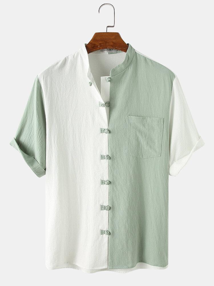 قميص رجالي ذو ياقة واقفة مرقعة من القطن بنسبة 100٪