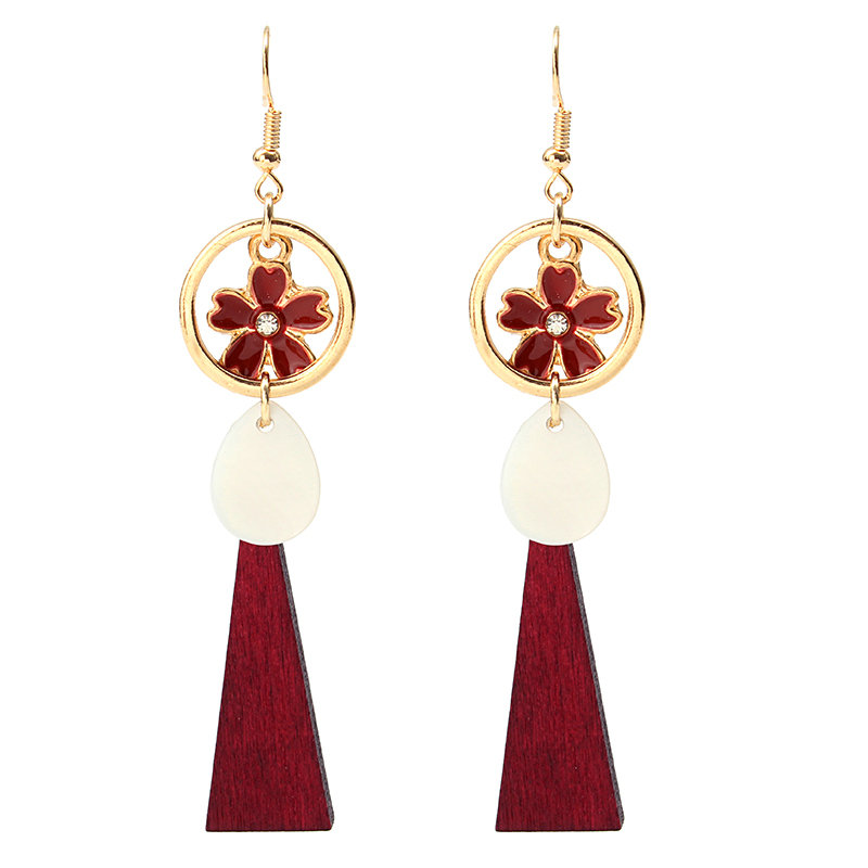 Trendy Long Earrings Wood Pendant Cherry Flower Ear Drop Gift Earrings