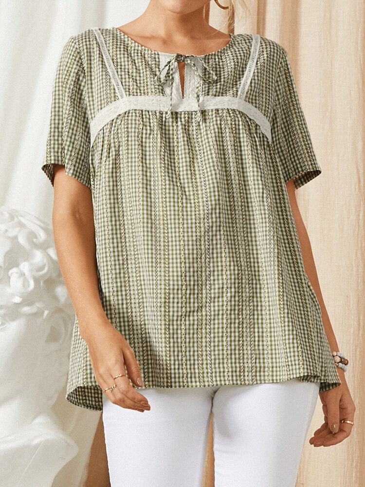 Plaid Print Knotted O-neck Short Sleeve Casual T-Shirt For Women