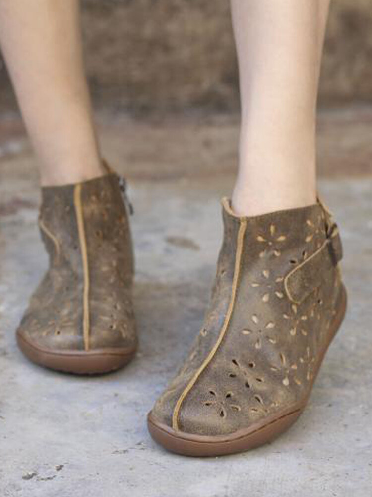Casual Floral Hollow Breathable Flat Shoes Solid Color Women's Ankle Boots