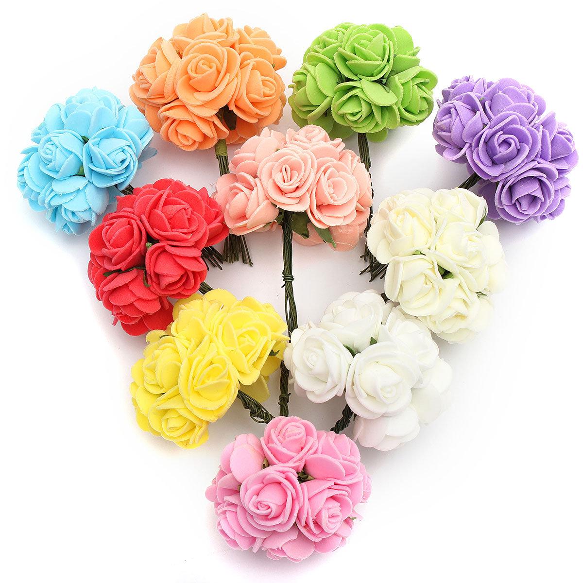 12PCS Bride Bouquet Paper Rose Flowers With Wire Stems Wedding Home Party Decoration