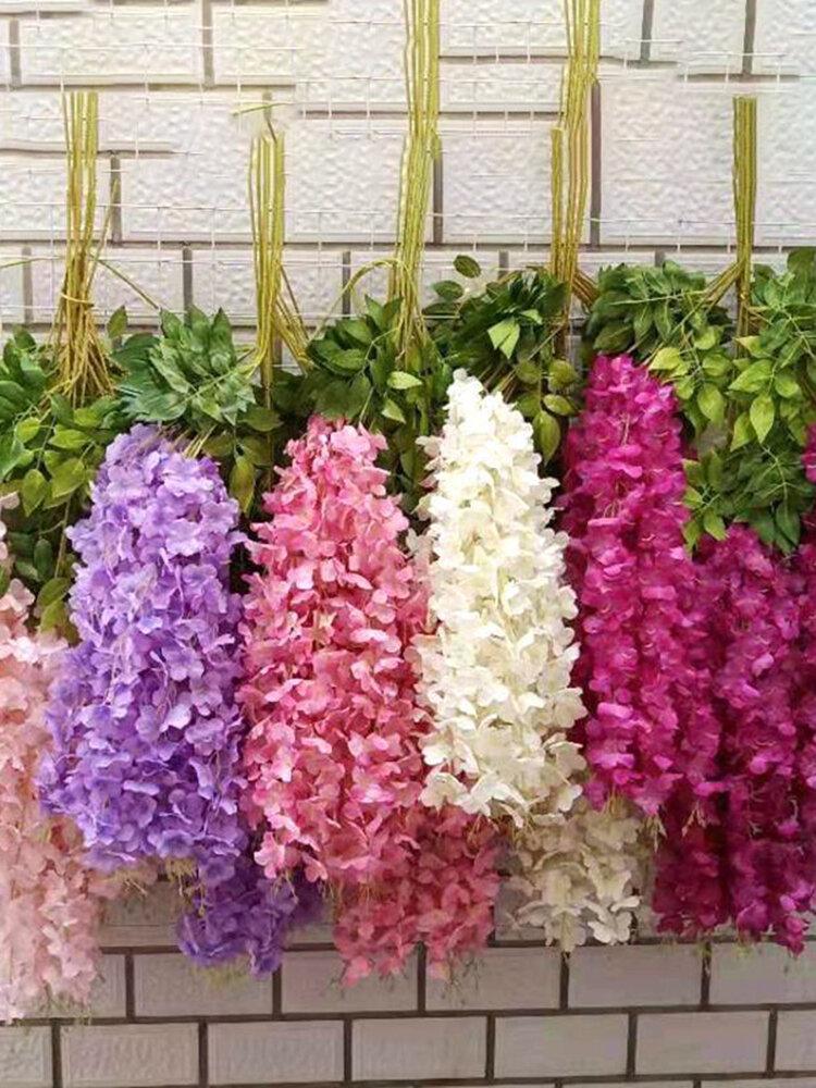 12 قطعة / المجموعة 100 سنتيمتر الزهور الاصطناعية الحرير الوستارية وهمية حديقة معلقة زهرة النبات كرمة ديكور الزفاف