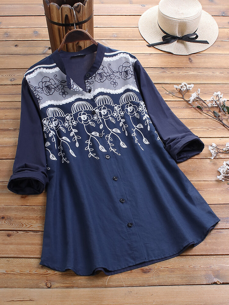Lace Embroidery Floral Patchwork Button V-neck Long Sleeve Blouse