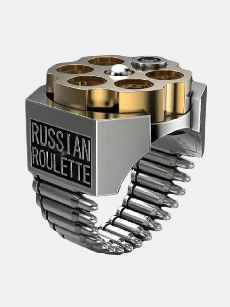 Men Creative Russian Roulette Bullet Shaped Ring Punk Style Two-Color Electroplated Ring