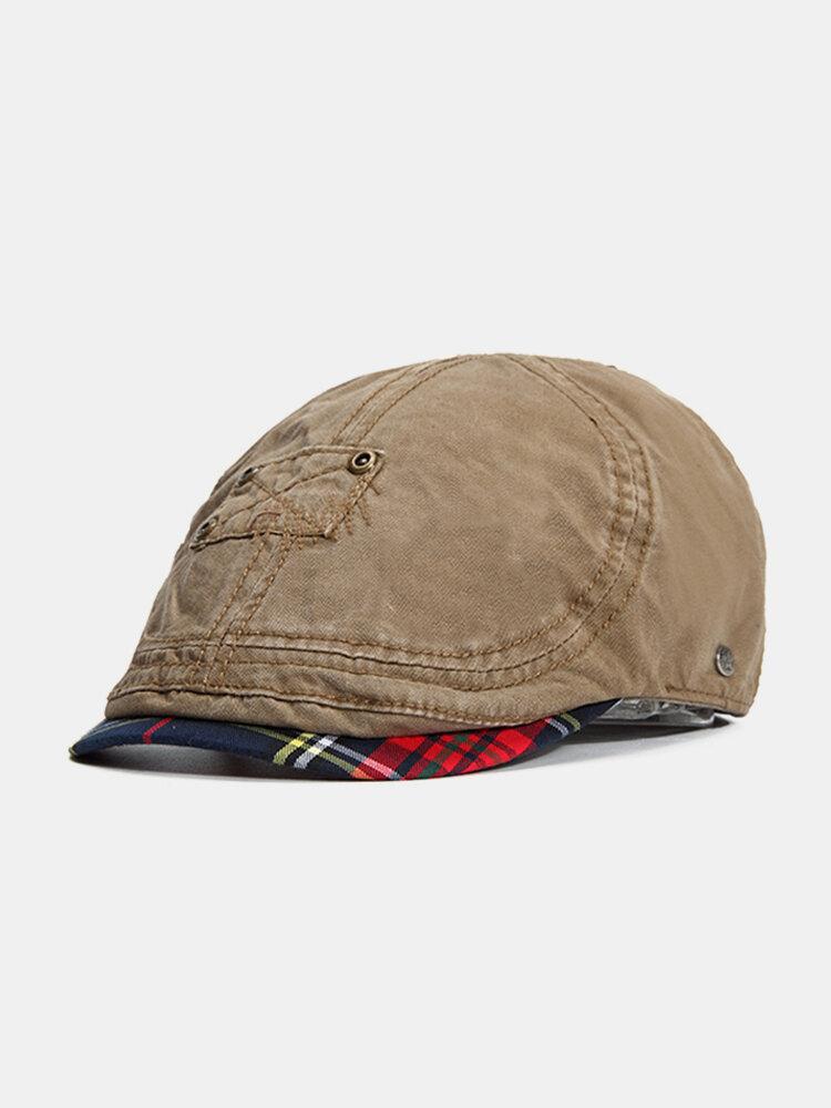 Mens Summer Cotton Patch Flat Caps Spring Casual Travel Vinatge Visor Beret Hats Adjustable
